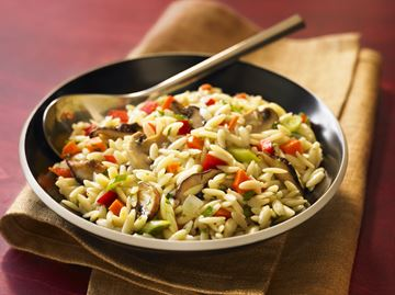 Mixed mushroom orzo a colourful side dish