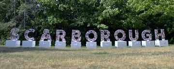 The Scarborough Sign at the University of Toronto Scarborough. Scarborough Arts produced the sign in partnership with the City of Toronto's Cultural Hotspot project.