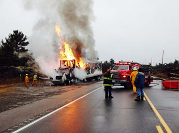 Transport fire on Highway 69