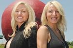Bodybuilders Kim Fry and Christine Knight