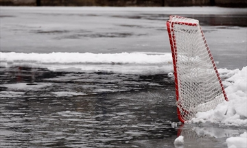 A lonely hockey net on the flooded surface at Bayfront Park, Feb. 7, 2017.