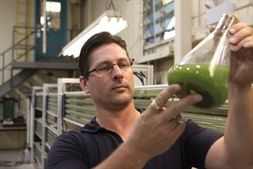 Mike McLaren, president and CEO of W2 Energy, examines a beaker of algae in the company's warehouse on Woodlawn Road. The algae, in tubes behind him, make use of the excess carbon dioxide the facility creates.