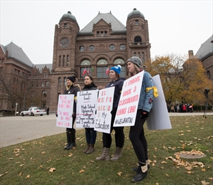 Students protest the ongoing Ontario College teachers strike at Queen's Park. November 15, 2017.