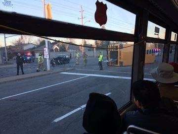School bus flips
