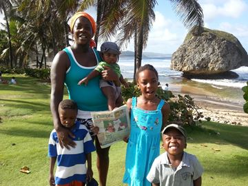Shelley, Vivian, Vaughn, Avery and Ellis Nicholls visit Bathsheba on the east coast of Barbados.