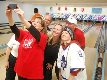 The team from the Town of Caledon do their best 'Ellen at the Oscar's selfie' during Monday night's Bowl for Kids Sake at Skyview Lanes.